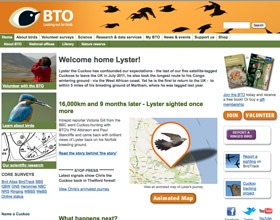 New British Trust for Ornithology website