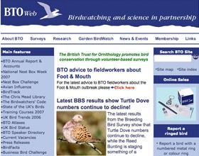 Original British Trust for Ornithology website
